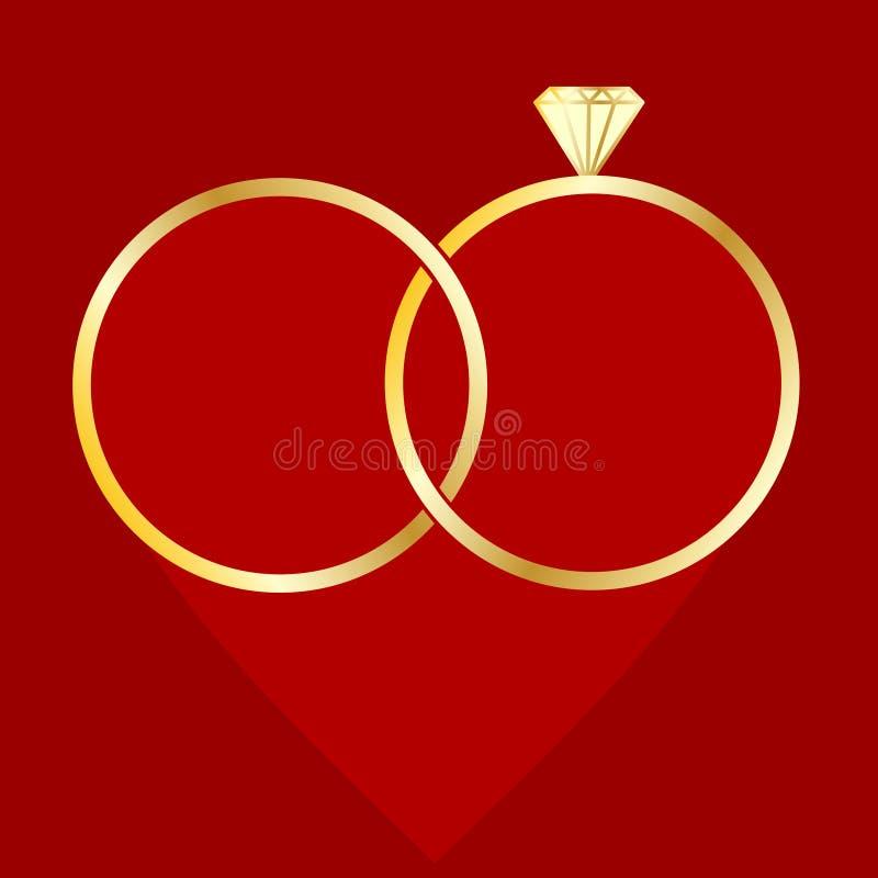 Obrączki ślubnej karta Element życia poślubiający ludzie royalty ilustracja