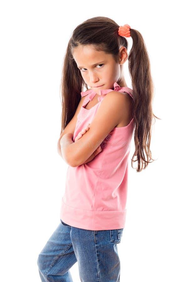 Obrażająca dziewczyna w menchii sukni fotografia stock
