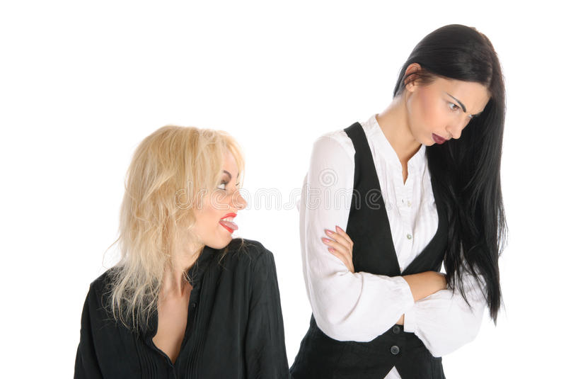 obrażający obrażać stawia jęzor kobiety zdjęcia stock