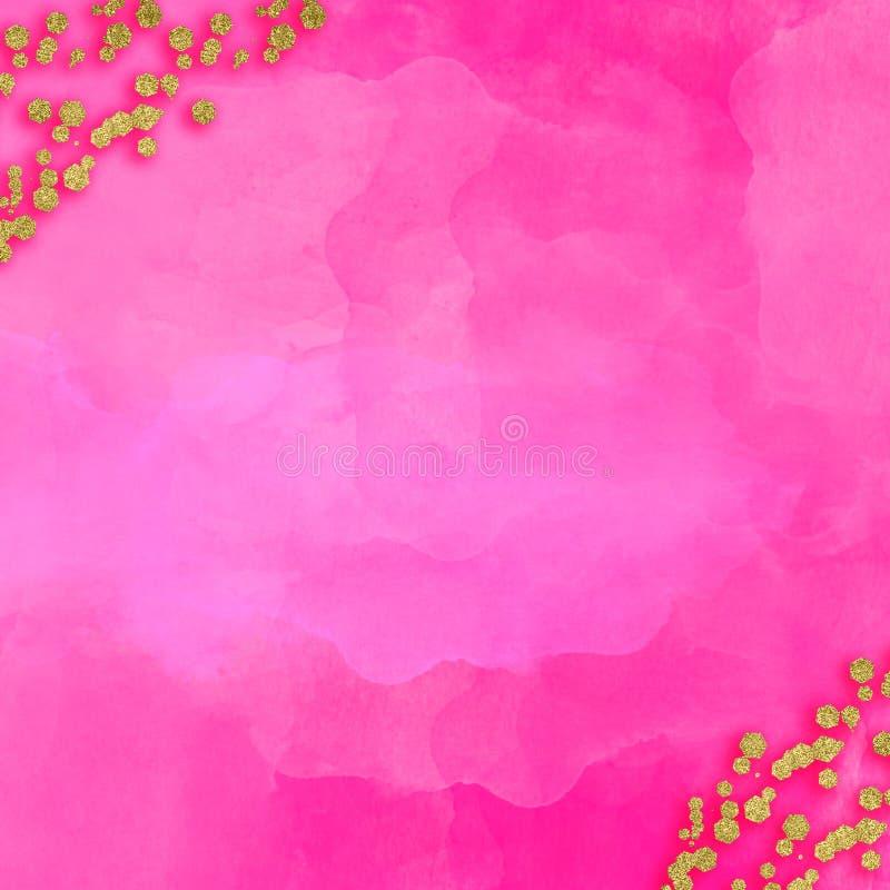 Obra clásica rosada de Rose Watercolor Background Gold Jewels libre illustration