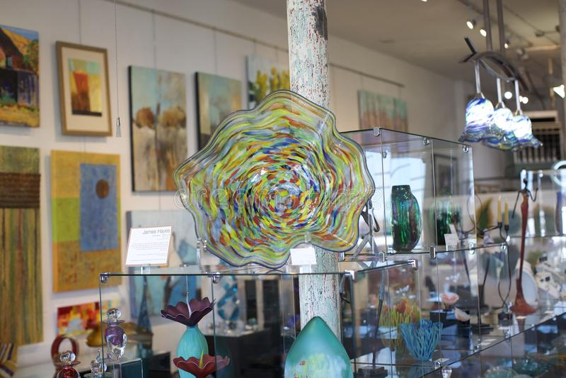 Obra de arte de vidro em Clifton Art Glass Gallery imagem de stock royalty free