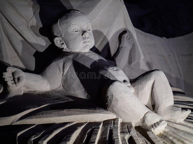 Obra de arte na areia no Las Palmas imagens de stock