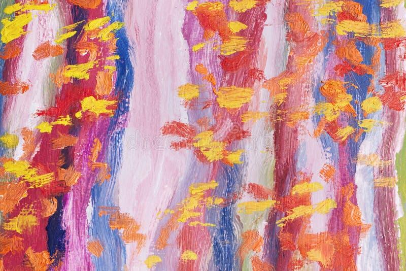 Obra maestra del arte Pintura al óleo abstracta Imagen pintada por las manos Pinceladas de diversos colores Arte moderno handmade stock de ilustración