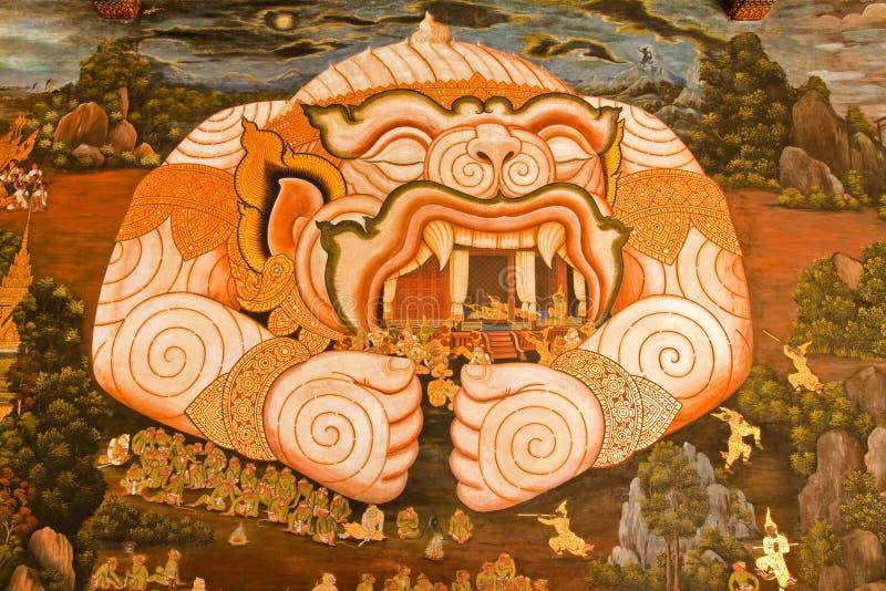 Obra-prima da arte tailandesa tradicional da pintura do estilo foto de stock royalty free