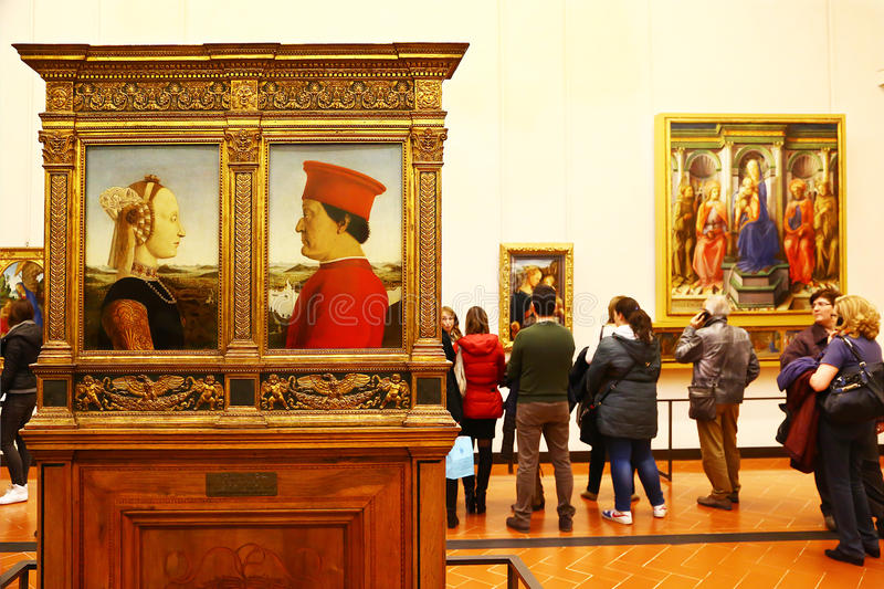 Obra-primas na galeria de Uffizi, Florença fotos de stock