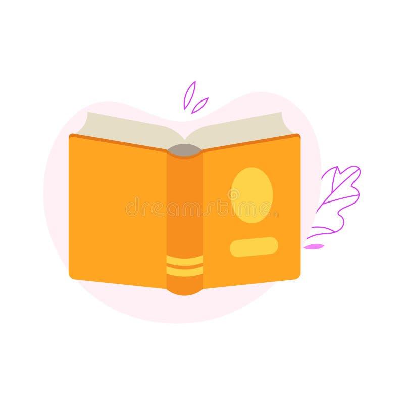 Obracająca z powrotem otwarta książka z widokiem odizolowywającym na białym tle z dekoracją żółty hardcover ilustracja wektor