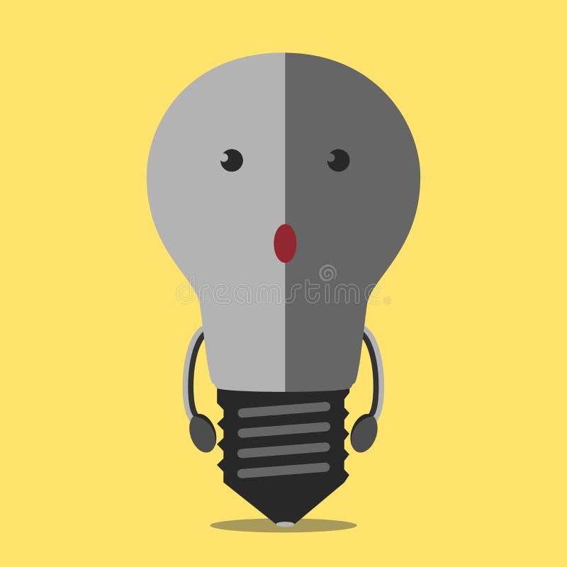 Obracający daleko lightbulb charakter ilustracja wektor