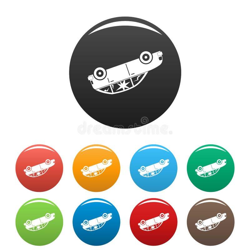 Obracający samochodowe ikony ustawiający koloru wektor royalty ilustracja