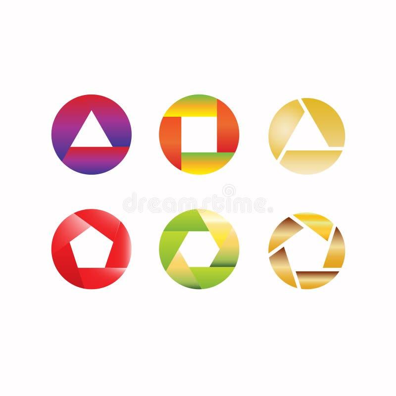 Obracanie ikony logo projekt Sześć ikon lub logo wektorowego projekt royalty ilustracja