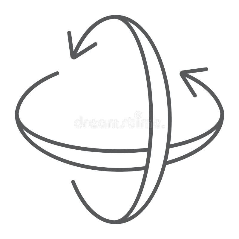 Obracanie osi cienka kreskowa ikona, pivot i widok, wirujemy szyldowe, wektorowe grafika, liniowy wzór na białym tle, ilustracji