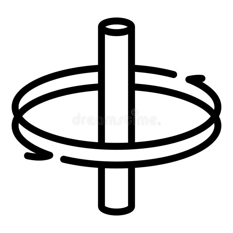 Obracanie wokoło osi ikony, konturu styl royalty ilustracja