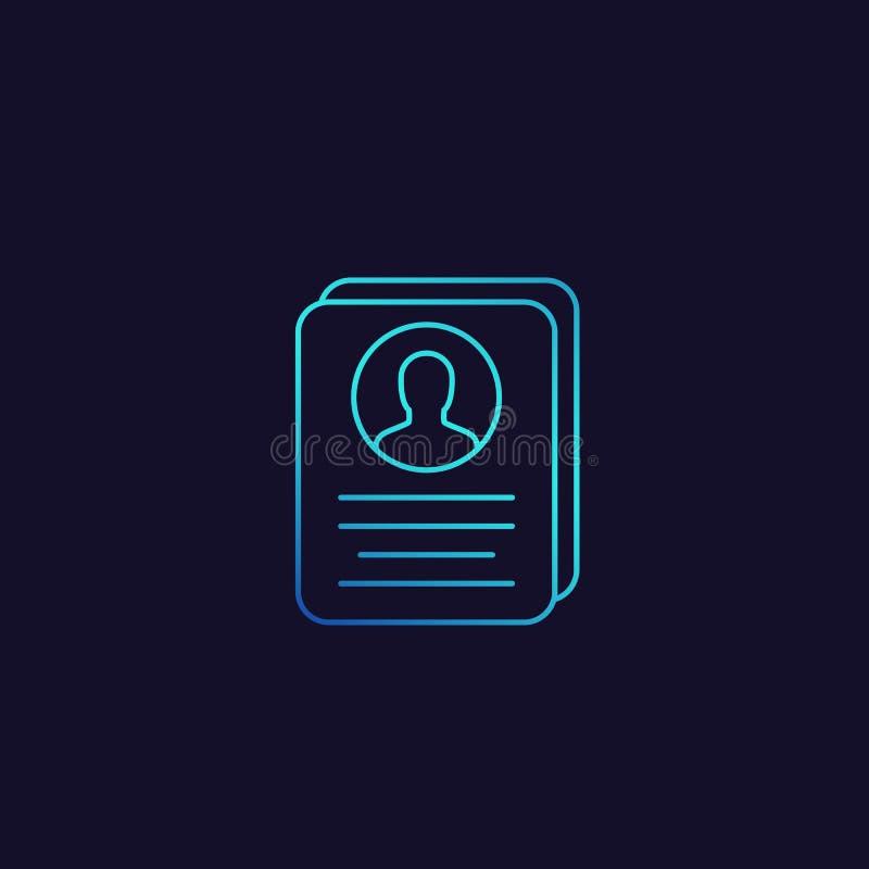 Obrachunkowa informacja, profil karta, osobista dane ikona ilustracji