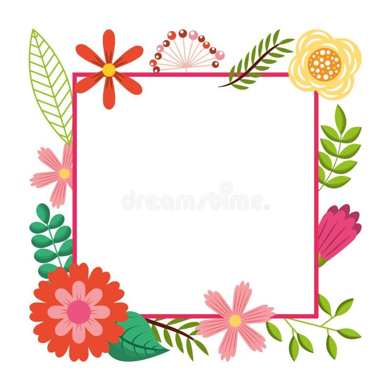Obramia od dzikich kwiatów kartka z pozdrowieniami szablonu projekta royalty ilustracja