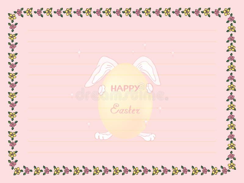Obramia pisać kartce z pozdrowieniami w dzień Świętej rezurekcji i miejsce, śmieszny królik trzyma świątecznego jajko dek royalty ilustracja