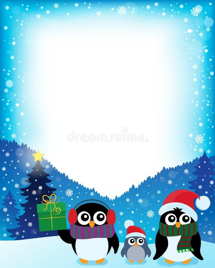 Obramia z stylizowanymi Bożenarodzeniowymi pingwinami 2 ilustracji