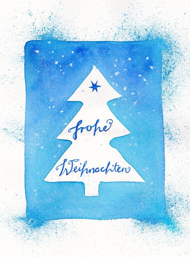 Obramiający abstrakcjonistyczny choinki akwareli obraz z Niemieckim tekstem: Frohe Weihnachten ilustracji
