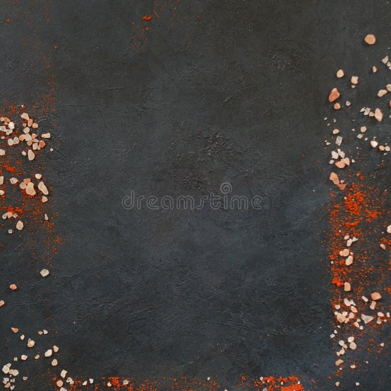 Obramiający astronautycznej ciemnej tło soli papryki czerwony jedzenie obrazy royalty free