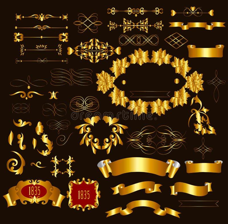 Obramiający luksusowi kaligraficzni stron decora i ilustracji