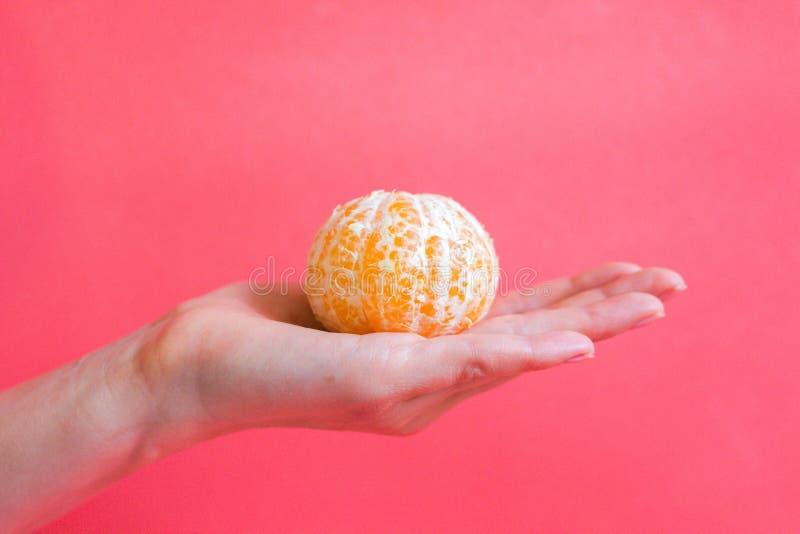 Obrana mandarynka kłama na delikatnej żeńskiej ręce zdjęcia stock