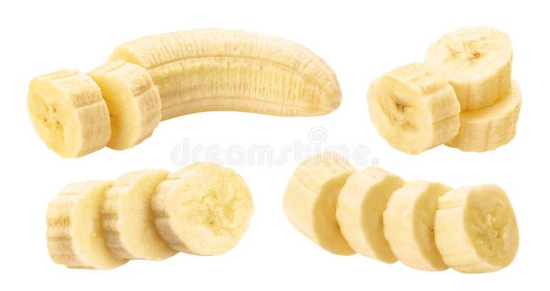 Obrani bananów plasterki odizolowywający na białym tle obrazy royalty free