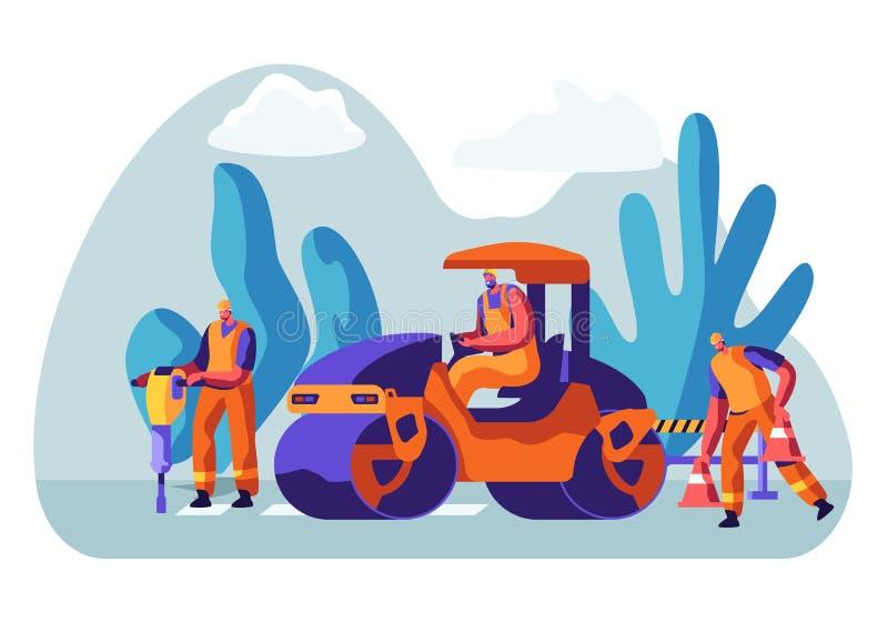 Obras por carretera y Asphalt Paving Hombres en caracteres totales con maquinaria de asfaltado pesada Transporte especial, compre ilustración del vector
