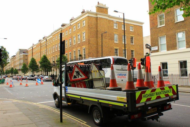 Obras viales Londres central Reino Unido foto de archivo