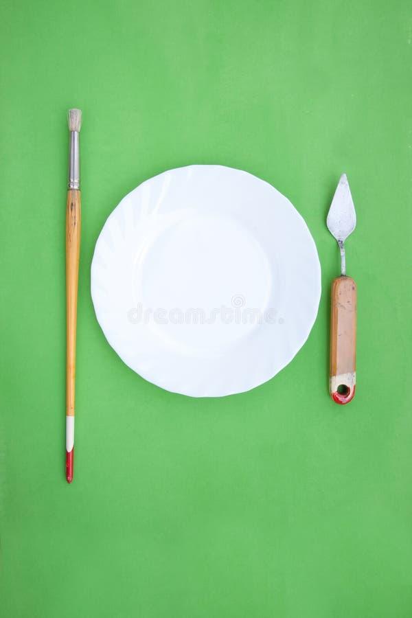 Obrazów instrumenty Jak Cutlery z talerzem zdjęcia royalty free