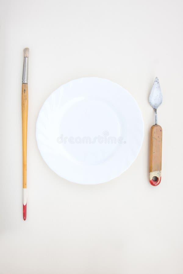 Obrazów instrumenty Jak Cutlery z talerzem obraz stock