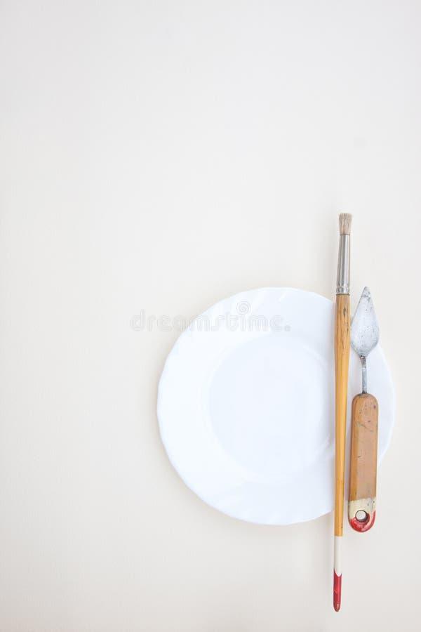 Obrazów instrumenty na talerzu zdjęcia stock