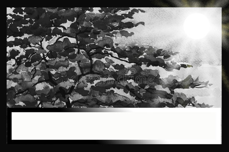 Obraz akwareli czerni kolor Pawi kwiaty ilustracja wektor
