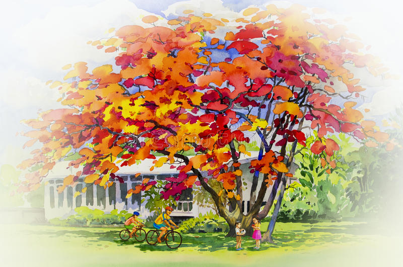 Obraz akwareli krajobrazu oryginalny czerwony pomarańczowy kolor pawi kwiaty ilustracja wektor