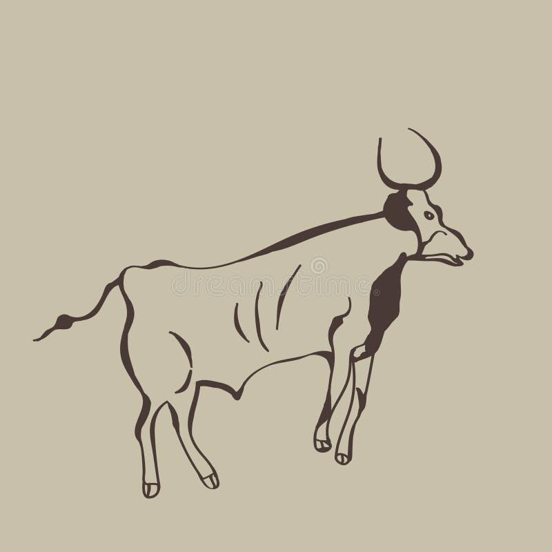 Obraz antyczny bizon na jamy ścianie ilustracja wektor