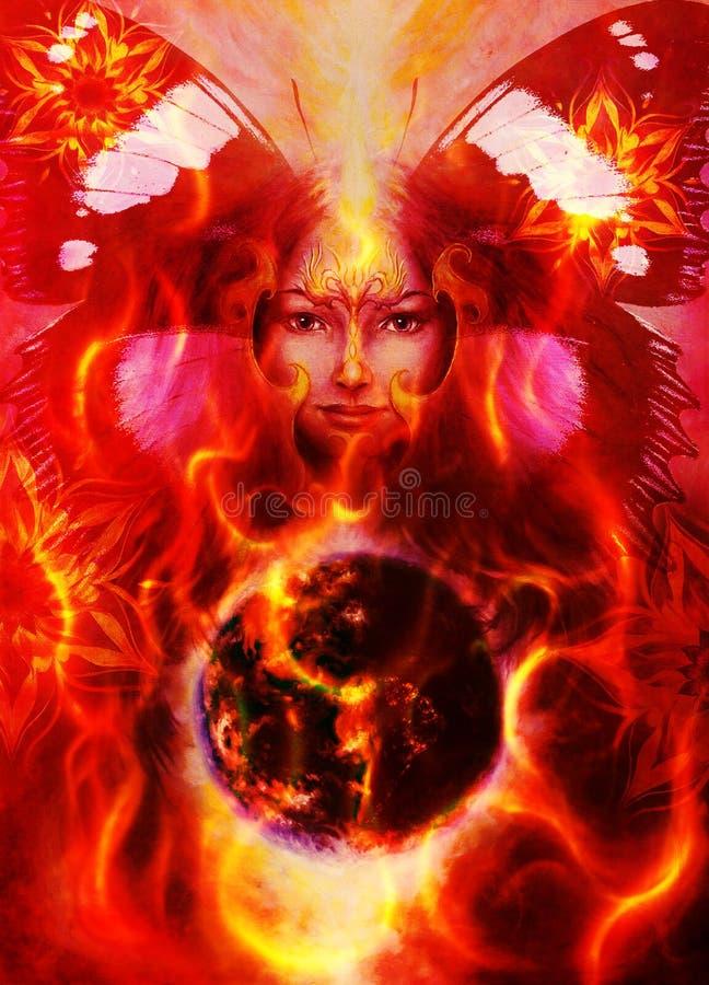 Obraz bogini kobieta z ptasim feniksem na twój royalty ilustracja