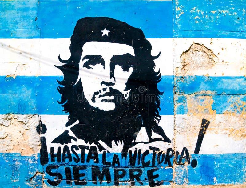 Obraz Che Guevara na starej ścianie w Hawańskim obrazy stock