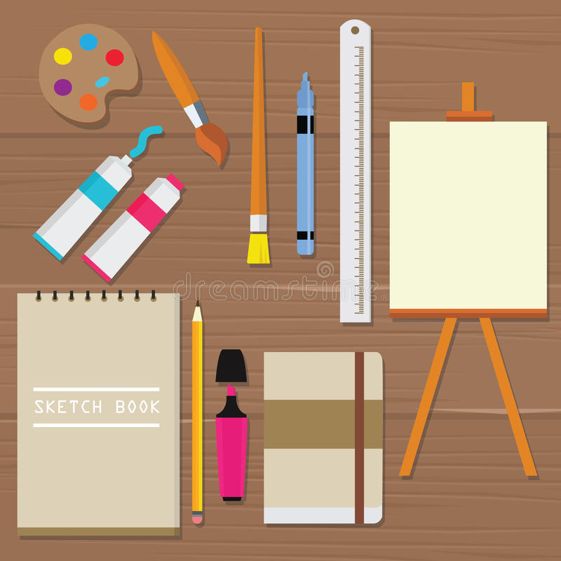 Obraz ikony przedmiota palety farby narzędzi wyposażenia sztuki wektorowego muśnięcia nakreślenia książki nafcianej tubki władcy  ilustracja wektor