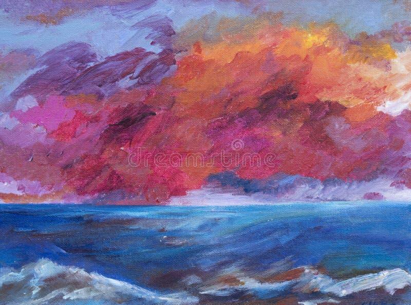 Obraz, ilustracja jaskrawy zmierzch nad morzem obraz royalty free