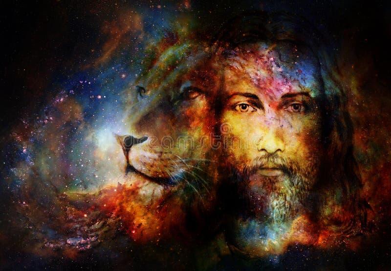 Obraz Jezus z lwem w cosimc przestrzeni, kontakcie wzrokowym i lwa profilowym portrecie, ilustracja wektor