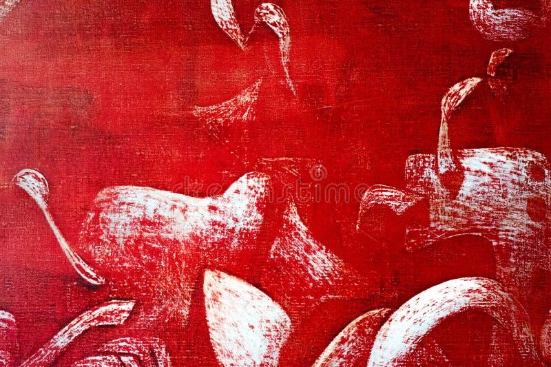 Obraz, kanwa, nafciane farby Abstrakta wzór na czerwonym backgrou ilustracji