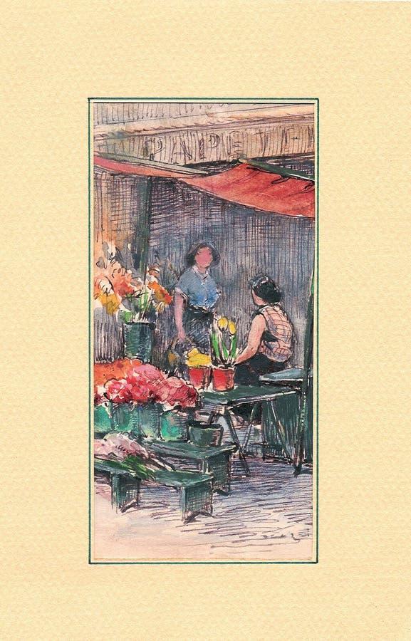 obraz kwiecista targowa akwarela royalty ilustracja