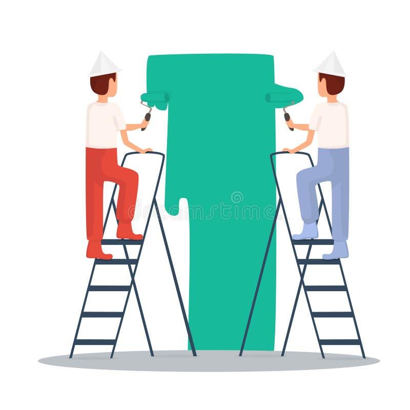 Obraz, malarz rzemieślnik Budowniczy, naprawy, w żółtym hełmie pracuje z narzędziami Płaska projekt ilustracja ilustracja wektor