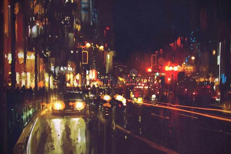 Obraz nocy ulica z kolorowymi światłami fotografia royalty free