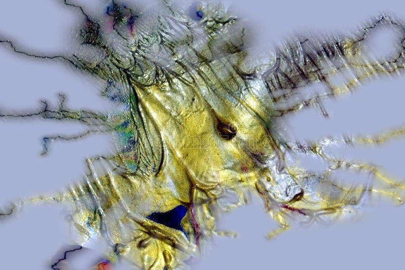 Obraz olejny żywej woskowatej akwareli szara złocista kolorowa tekstura, zamazany kreatywnie projekt fotografia royalty free