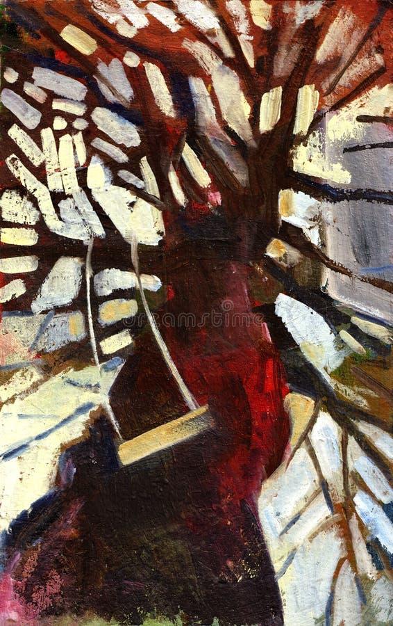 obraz olejny drzewo royalty ilustracja