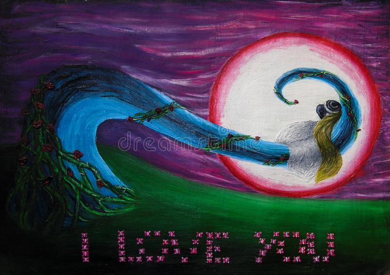 Obraz olejny fantazji nocy krajobraz z pann? m?od? i fornalem ca?uje ?arliwie, mi?o??, ?lub, miesi?c miodowy ilustracja wektor