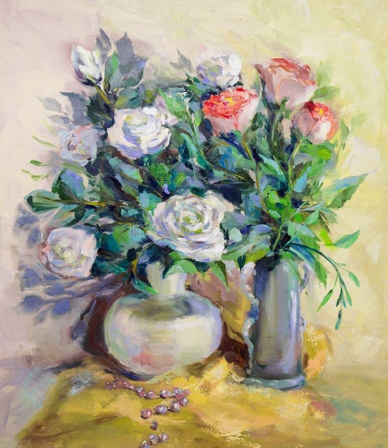 Obraz Olejny, impresjonizmu styl, tekstura obraz, kwiatu stil royalty ilustracja