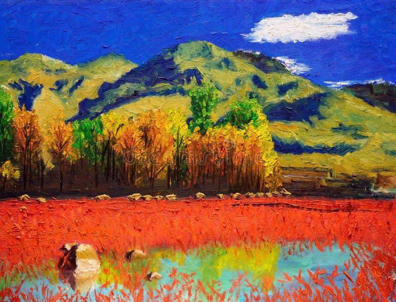 Obraz Olejny - jesień krajobraz royalty ilustracja