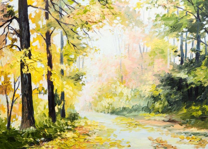 Obraz olejny jesieni krajobraz, droga w kolorowym lesie, sztuki praca ilustracji