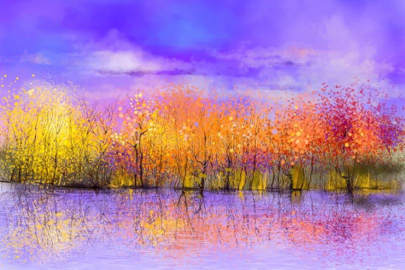 Obraz olejny jesieni krajobrazu kolorowy tło ilustracja wektor