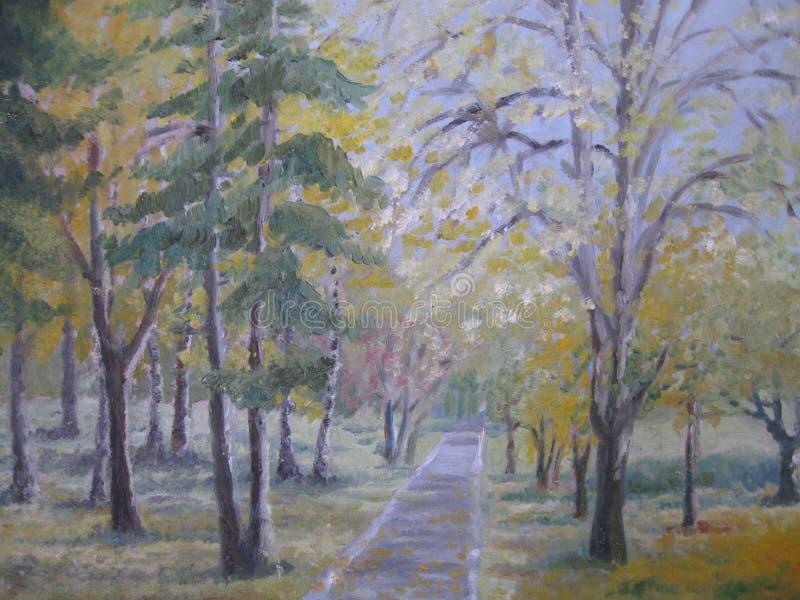 Obraz olejny, kolorowi jesieni drzewa royalty ilustracja