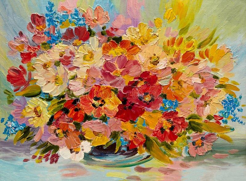 Obraz olejny - kolorowy bukiet lato kwiaty ilustracja wektor